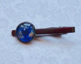 Earth Eye Gunmetal Tie Bar Tie Clip - Planet Earth Tie Bar - Mens Celestial Gift