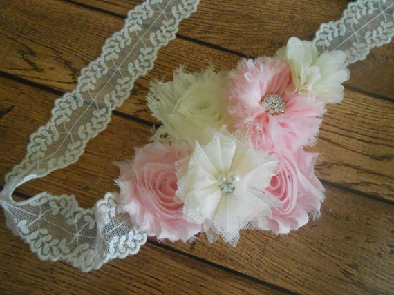 Sash, Ivory and Pink Sash , flower Belt, maternity sash