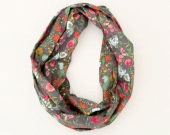 Echarpe Tube infini foulard - gris roses bleus verts rouges Fleurs Floral - coton mode