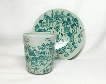 Vintage Nymolle Art Faience Hoyrup Harbour Bay City Scene Boat House People Porcelain Cup Saucer Set Green Denmark Danish Demitasse 4006
