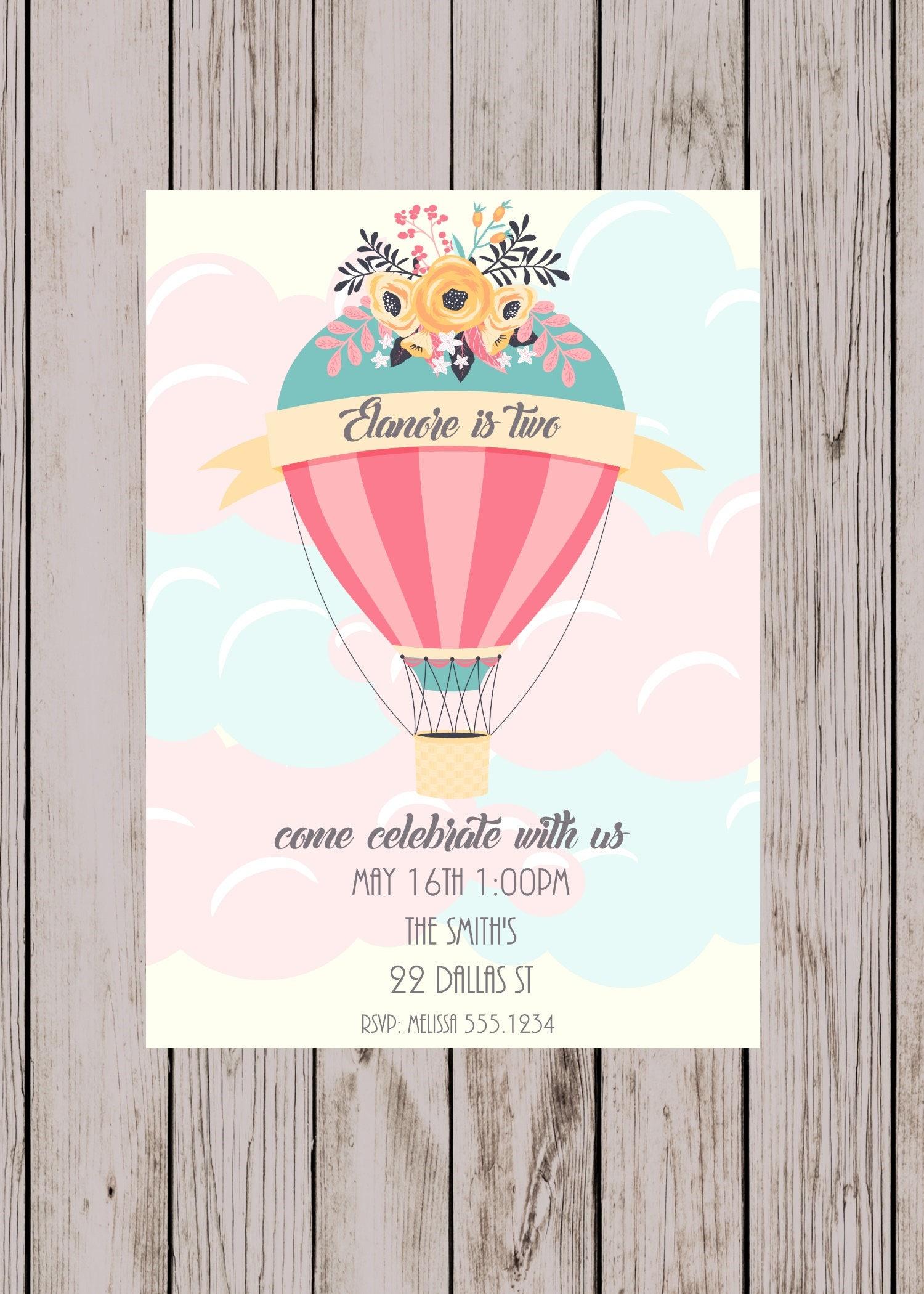 Hot air balloon birthday first birthday party invitation zoom filmwisefo