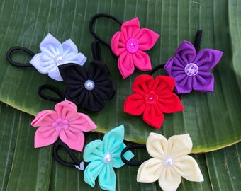 Plain Janes fabric flower hair tie, rainbow hair accessory, hair band, hair elastic
