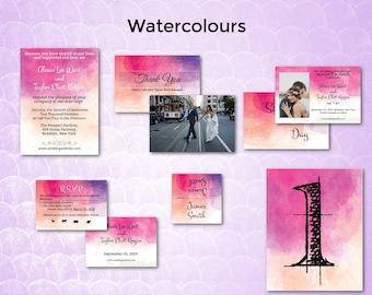 Pink Watercolor/Wedding Invitation Suite/Wedding Invitation Set/Wedding Set/Wedding Invitation Set/Unusual/Modern Wedding/Watercolours