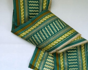 New - embroidered lace pattern gold on green background of gray in 11 cm wide