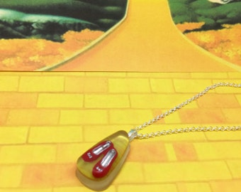 Yellow Brick Road - Wizard of Oz inspired resin necklace with ruby slippers