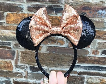 Black with Rose Gold Bow Sequin Minnie Mouse Ears