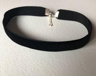 Handmade black velvet choker necklace