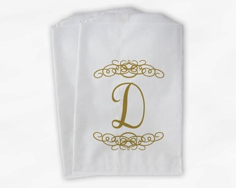 Personalized Candy Buffet Bags - Gold Initial Custom Favor Bags with Henna Flourish Design - Set of 25 Paper Treat Bags (0038)