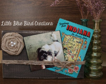 Rustic Wood Block Picture Frame - burlap - twine - home decor gift - stocking stuffer - christmas gift - group gift