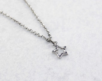 Silver Star Necklace - Star Outline Necklace, Tiny Star Necklace, Simple Star Necklace, Bright Silver Star Necklace