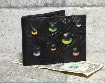 Leather Wallet Monster Face Fantasy Magic The Gathering Horror World Of Warcraft  Fathers Day Gift Black 550