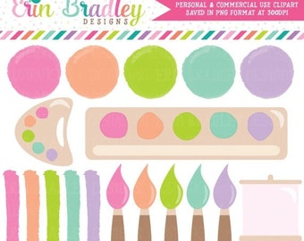 80% OFF SALE Girls Art Party Clipart Painting Party Clip Art Graphics Paint Brushes Easel and Swooshes Commercial Use OK