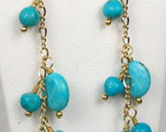 NATURAL! Kingman #1 USA TURQUOISE With 22K Vermeil Earrings 302192A
