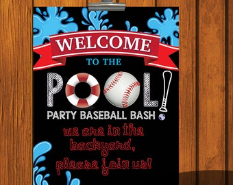 Pool Party Baseball Bash / Welcome sign / Party Printables / Birthday Day Party Sign / Pool Party Sign
