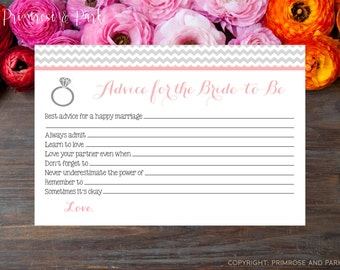 Advice Card for Bridal Shower • Bride-to-Be Advice Card • Best Wishes Card • Instant Download