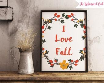 I Love Fall - Art Print