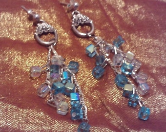 Handmade 3 inch blue and clear cascade earrings, waterfall earrings, unique, Valentine's Day, birthday, dangle earrings, gift for her