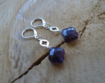 Earrings amethyst and sterling silver / * floral chance! *