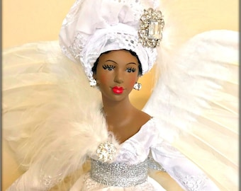 LARGE 19 INCH Black Angel All White, African American Mantle Sized Angel Tree Topper, Christmas Angel, White African Fabric, Tree Top Angel