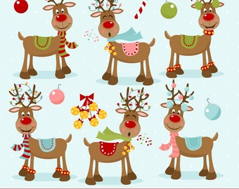 Reindeer Clipart, Christmas Clipart, Rudolph, Red Nosed Reindeer, Printable, Commercial Use