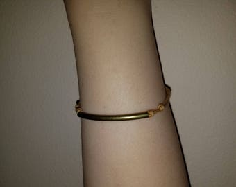 Thin Natural Rubbed Bronze Tube Bracelet