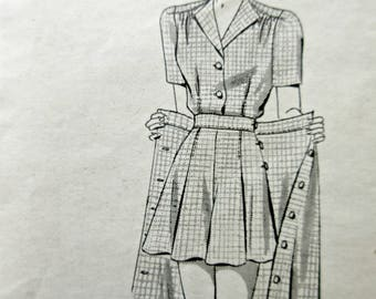 Vintage Anne Adams 4093 Sewing Pattern, 1940s Skirt Pattern, Women's Full Shorts Pattern, Blouse, Mail Order Pattern, Bust 32, 40s Playsuit