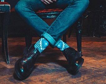Crio colorful socks for men. Fun striped  dark blue Sammy Icon socks.