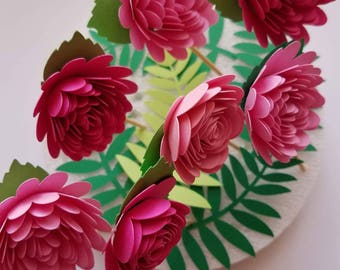Set of 10 Pink Paper Flower Toppers w/Leaves, 3D Paper Flowers, Pink  Flower cake topper