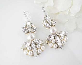 Art Deco bridal earrings, Swarovski rhinestone and pearl chandelier, Crystal and pearl dangle earrings, Wedding earrings, Unique earrings