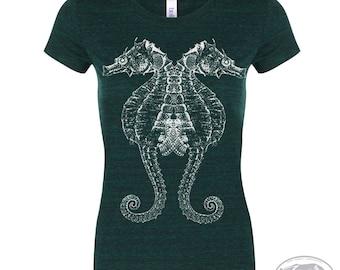 Womens SEAHORSE -  Lightweight Tri Blend t shirt [+Colors] S M L XL XXL custom