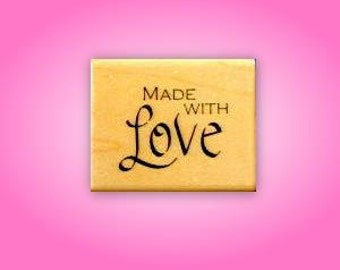 Made With Love Mounted rubber stamp, tag stamp for handmade items, Sweet Grass Stamps No.15