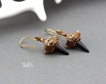 Black spike earrings | Bronze beaded earrings | Small dangle earrings