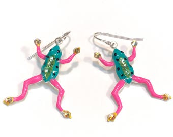 Frog Earrings - Frog Jewelry - Whimsical Earrings - Fun Bright Hand Painted Colorful