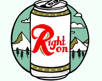 Rainier beer print, Pacific Northwest, summer, digital illustration