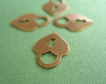 vintaj brass teensie heart charms, 4 pieces brass heart charms, 15 x 11 mm charm, four pieces