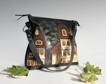 Leather shoulder bag Black cowhite pebbled leather handbag landscape art bag leather purse painted leather tote Women's Leather Bag for mom