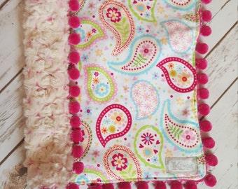 Security Blanket, Tag Blanket, Pompom Blanket, Blanket, Baby Girl Tag Blanket, Baby Girl Security Blanket, Baby Shower Gift, ONE OF A KIND