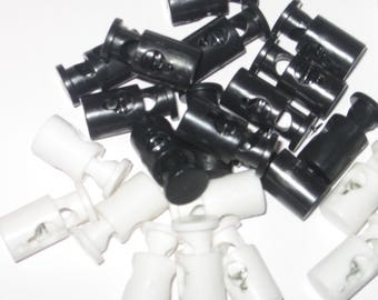 Mini Barrel Cord Locks Toggles cordlocks black or white 100 pcs