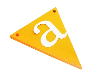 Flag banner SET, 18 (5.5 x 5 inches) flags in Canary Yellow cardstock A239