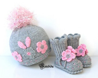 Gray Baby Hat, Baby Girl Hat and Booties, Pink Pom pom Beanie, Knit Cable Hat, Crochet Baby Shoes, Baby Girl Boots, Winter Baby Girl Set.