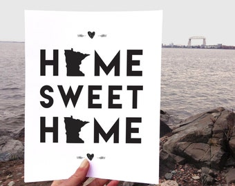Home Sweet Home | Midwest Print | Minnesota Love | 8x10 | Minnesota Printable | Home Sweet Minnesota | Housewarming Gift | Instant Download