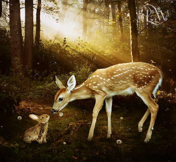 Baby deer and bunny woodland art print by Enchanted Whispers