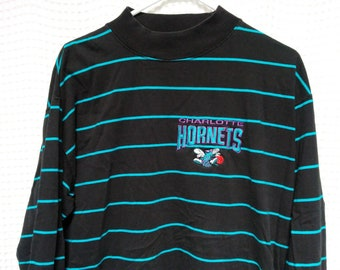 Charlotte Hornets vintage T Shirt Jersey 1990's mock neck striped long sleeve NBA basketball tee Front Row Salem Sportswear 90s RARE hip hop