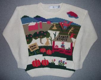 Farmers Market Fresh Corn Sweater Farm Stand Tacky Gaudy Ugly Christmas Party X-Mas Holiday Winter Warm M Medium