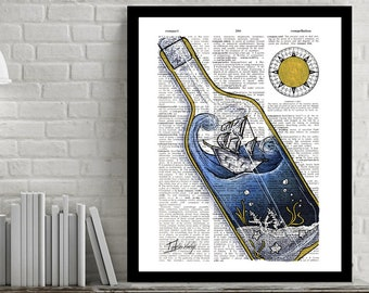 Ship In a Bottle - Dictionary Art