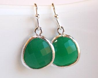 Green Earrings, Silver Earrings, Palace Green, Wedding Jewelry, Bridesmaid Earrings, Bridesmaid Jewelry , Bridesmaid Gifts