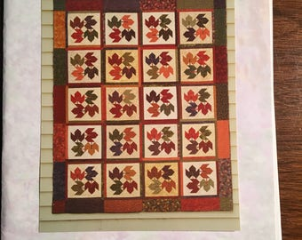 "Swirling Leaves - Fall Leaves,  -  Quilt Block Pattern -  Size 72"" x 87"" finished"