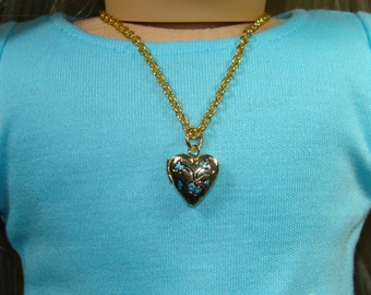 """Painted Gold Heart Locket Necklace for 18"""" Play Dolls such as American Girl®"""