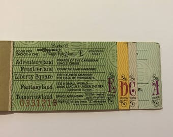 1979 Walt Disney World - Book of Tickets E D C A (5 Tickets) Mission to Mars, Star Jets, Liberty Square, Cinderella, Haunted Mansion