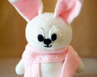 cute pink and white rabbit